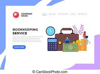 Online internet web bookkeeping web banner concept. Vector...