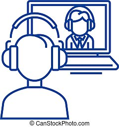 Online interview,study,school line icon concept. Online interview,study,school flat  vector symbol, sign, outline illustration.