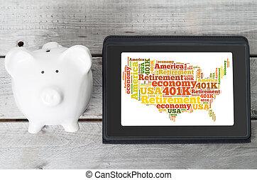 Online investment for 401k retirement plan concept