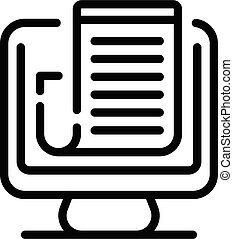 Online job icon, outline style