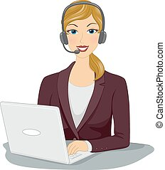 Online Job - Illustration Featuring a Woman Wearing a...