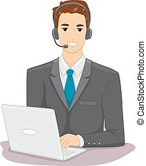 Online Job Man - Illustration Featuring a Man Working...
