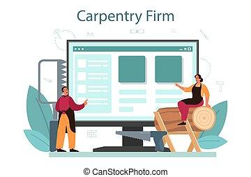 online, jointer, ou, serviço, construtor, platform., carpinteiro, desgastar