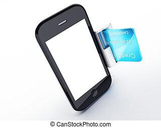 online, kártya, telefon., mozgatható, fizetés, hitel, fogalom