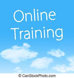 online, képzés, felhő, ikon, noha, tervezés, képben látható, kék ég, háttér