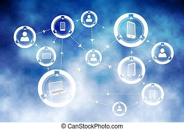 online, közösség, háttér