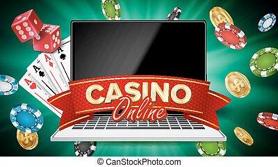 online, kasino, banner, vector., realistisch, laptop., gluecksspiel, kasino, banner, zeichen., explosion, späne, spielende , dice., abbildung