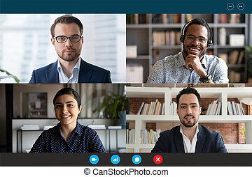 online, kilátás, videoconference, sok nemzetiségű, számítógép, gyűlés, webcam, ellenző, résztvevő