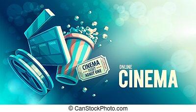 online, kino, kunst, film, aufpassen, mit, popcorn