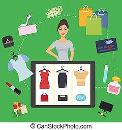 online, kleding, illustration., computer, meisje, aankoop, tablet, vector, internet