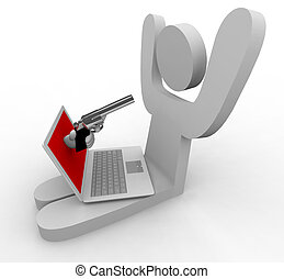 online, kradzież, -, laptop