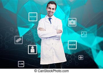 online lægekunst, begreb, hos, doktor