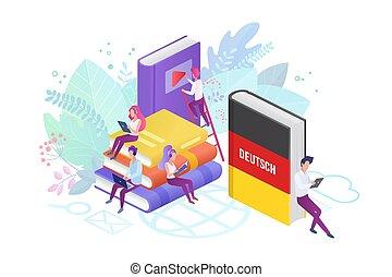 Online language modern courses flat vector illustration -...