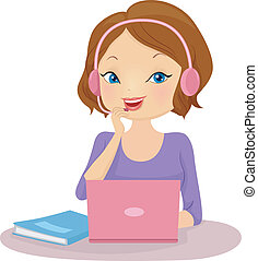 Online Language Tutor - Illustration of a Female Tutor...