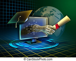 Android hand emerges from a monitor and delivers a diploma. Digital illustration.