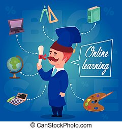 Online Learning Character Concept - Composition with cartoon...