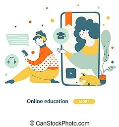 Online learning concept, modern flat vector illustration.