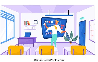 Online learning concept. Teacher at the blackboard in empty class. Man conducts business training