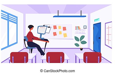 Online learning concept. Teacher at the table in empty class. Woman conducts business training