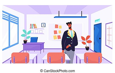 Online learning concept. Teacher in class room near the desk. Man conducts business training