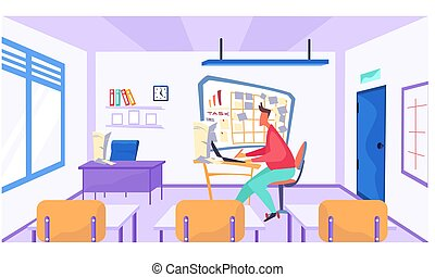 Online learning concept. Teacher with laptop in class, video lesson. Man conducts business training