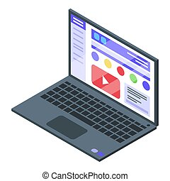 Online learning icon, isometric style