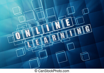 online learning in blue glass cubes