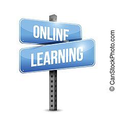 online learning road sign illustration design