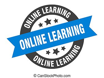 online learning sign. round ribbon sticker. isolated tag