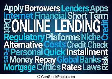 Online Lending Word Cloud on Blue Background