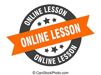 online lesson sign. round ribbon sticker. isolated tag