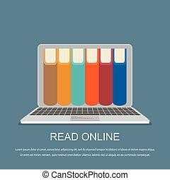 online library concept. Vector illustration. Flat design