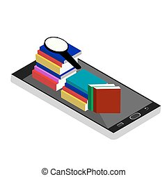 Online library isometric concept with mobile device and books. Flat design. Online labrary isometic. Vector illustration