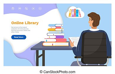 Online library landing page template with a man student at a table with stack of books back view