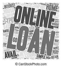 Online Loan text background wordcloud concept