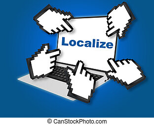 Online localisation forecast concept with a businessman giving a thumbs up gesture of success and approval with pointing hand icons pointing at the laptop screen from all sides