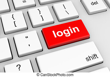 Online Login - Computer Keyboard with Red Login Button...