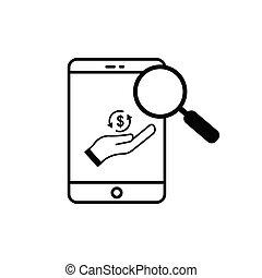 online, média, tervezés, sablon, írni-olvasni tudás, ügy, icon., kutató, vektor