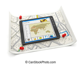 Online maps of various cities. Tablet PC with a site map and...