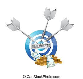online, marketing, céltábla, készpénz, aláír