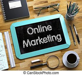 online, marketing, conceito, ligado, pequeno, chalkboard., 3d.