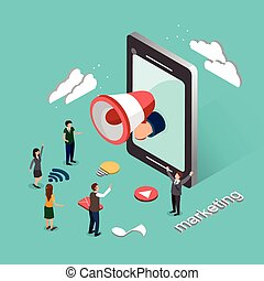 online marketing concept in 3d isometric flat design