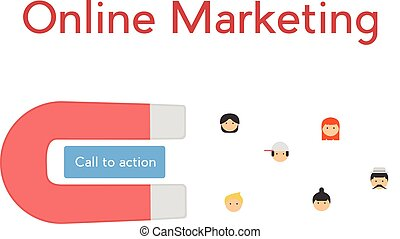 Online marketing concept. Illustration of call to action button, magnet and people icons