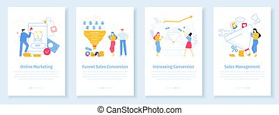 Online marketing conversion rate concept. Worker attracting internet clients with discounts. Funnel sales strategy for new customers. Developing management for increasing purchases vector app