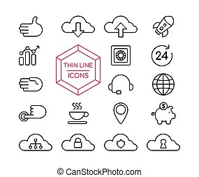 Online marketing line icon set for business web