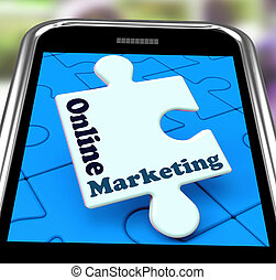 Online Marketing On Smartphone Shows Emarketing