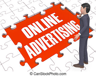 Online Marketing Puzzle Showing Advertisements 3d Rendering