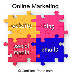 Online Marketing Puzzle Shows Websites And Blogs