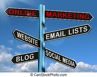 Online Marketing Signpost Shows Blogs Websites Social Media...