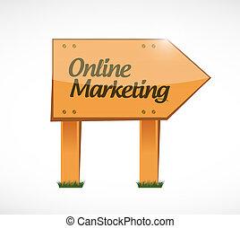 online marketing wood sign illustration